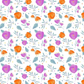 Minimalist drawn floral pattern background
