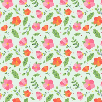 Minimalist drawn floral pattern on green background