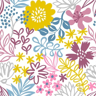 Minimalist drawn floral pattern wallpaper