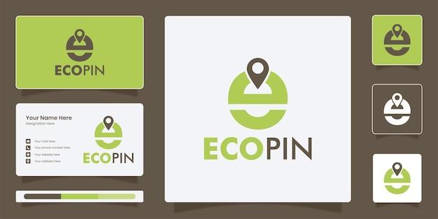 Минималистичный логотип e письмо e pin абстрактный творческий логотип с шаблоном визитной карточки