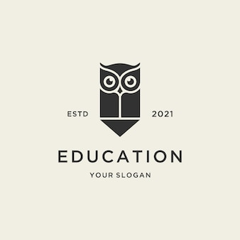 Minimalist education owl logo with pencil design