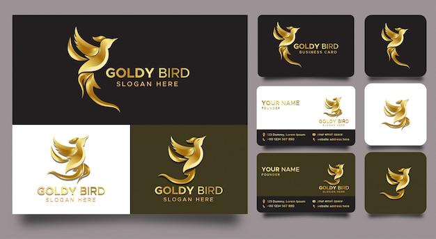 Минималистичный элегантный логотип птицы градиент золота и визитные карточки и значки