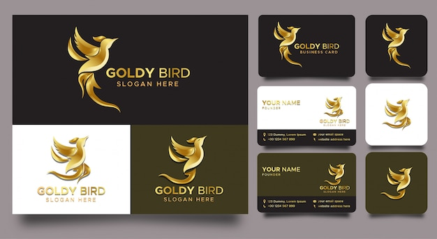 Minimalist elegant bird gradient gold logo and business cards and icons