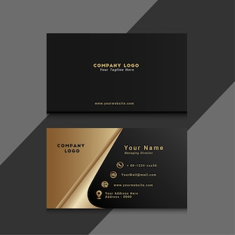 Minimalist and elegant business card with gold shape