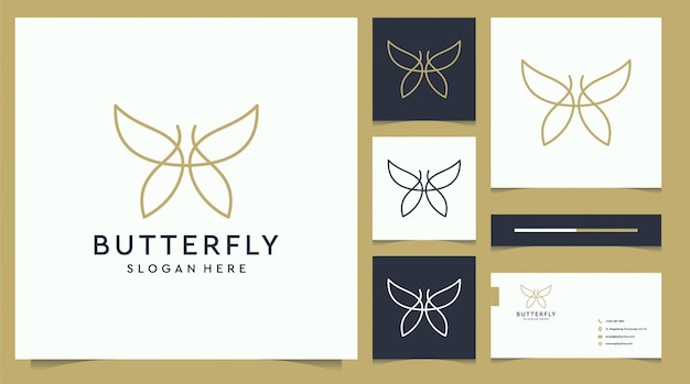 Minimalist elegant butterfly logo and business card design with line art style
