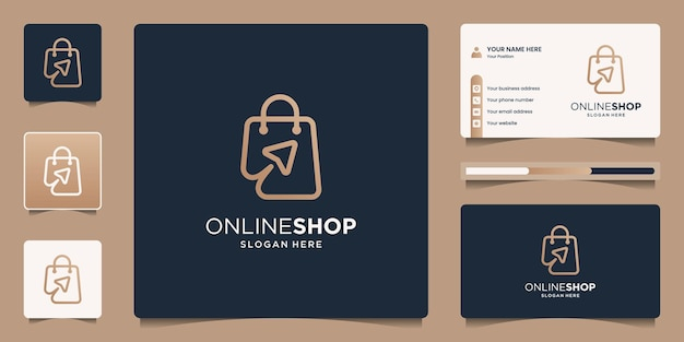 Minimalist elegant combine bag and click arrow for online shop with line art style concept
