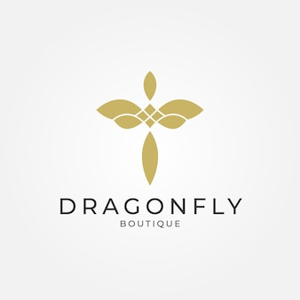 Minimalist elegant dragonfly logo design for boutique jewelry and saloon