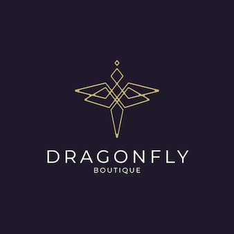 Minimalist elegant dragonfly logo design with line art style for boutique jewelry and saloon