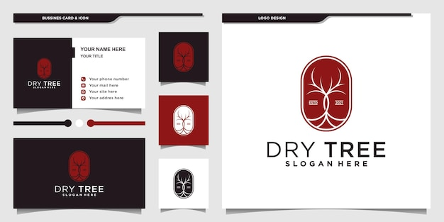 Minimalist elegant dry tree logo design and business card premium vector