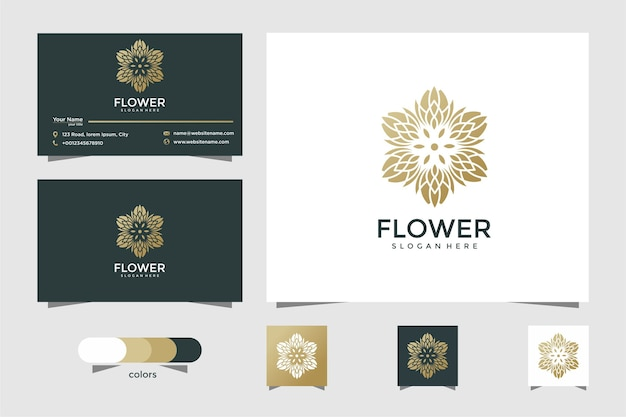 Minimalist elegant floral logo for beauty, cosmetics, yoga and spa. logo design and business card