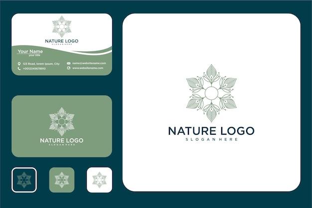 미니멀한 우아한 꽃무늬 로고 디자인과 명함