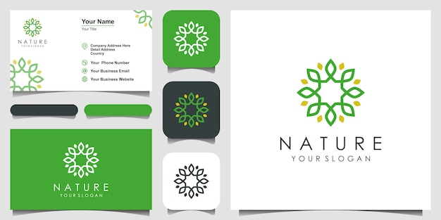 Minimalist elegant floral logo design for beauty, cosmetics, yoga and spa. logo design and business card