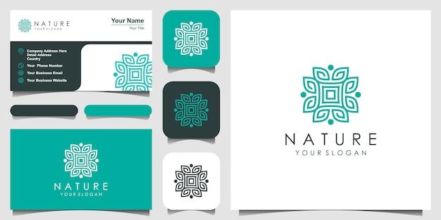 美容、化粧品、ヨガ、スパのためのシンプルでエレガントなフローラルロゴデザイン。ロゴデザインと名刺