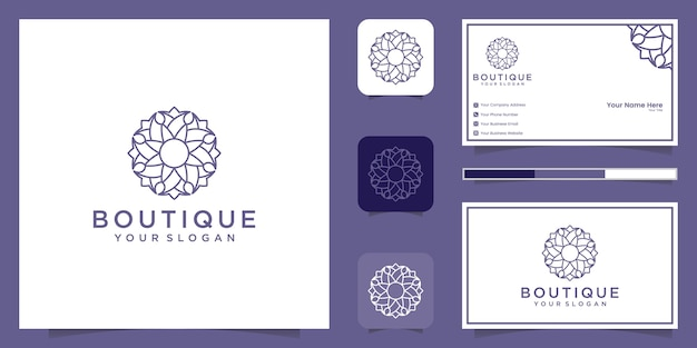 美容、化粧品、ヨガ、スパのためのシンプルでエレガントなフローラルロゴ。ロゴデザインと名刺