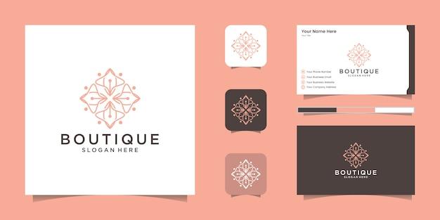美容、化粧品、ヨガ、スパのためのシンプルでエレガントな花のロゴ。ロゴデザインと名刺