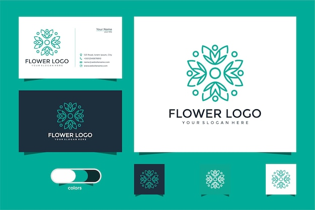 美容、化粧品、ヨガ、スパのためのミニマリストのエレガントな花のロゴ。ロゴデザインと名刺
