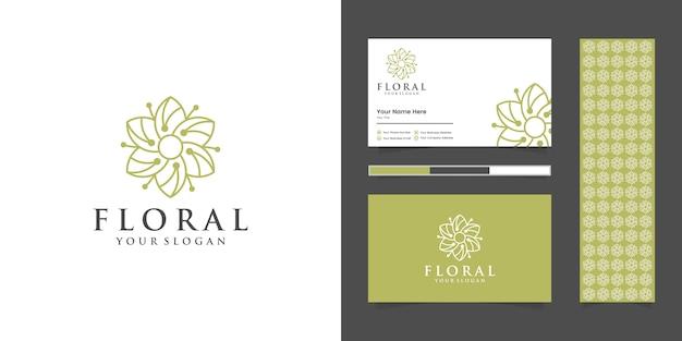 美容、化粧品、ヨガ、スパのためのシンプルでエレガントな花のロゴ。ロゴデザイン名刺とパターン