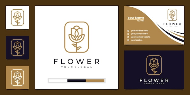 Minimalist elegant floral rose for beauty, cosmetics, yoga and spa. logo and business card