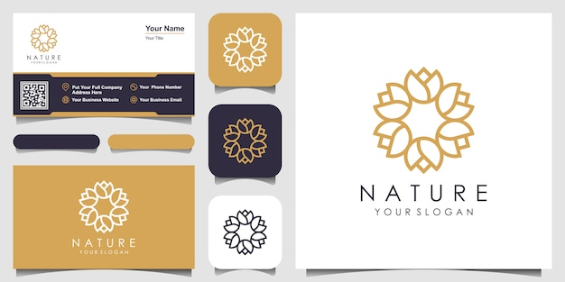 Minimalist elegant  floral rose circular logo and business card design. logo for beauty, cosmetics, yoga and spa.