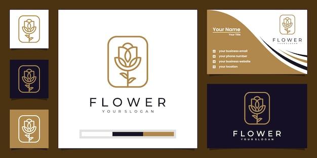 美容、化粧品、ヨガ、スパ向けのミニマリストのエレガントなフローラルローズ。ロゴと名刺