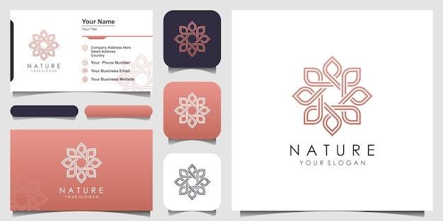 Минималистская элегантная цветочная роза для красоты, косметики, йоги и спа. логотип и визитка
