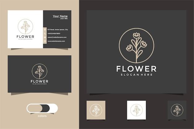 미니멀리스트 우아한 꽃 장미 로고 및 명함 디자인