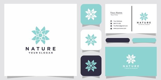 Минималистичный элегантный цветочный логотип розы и визитная карточка