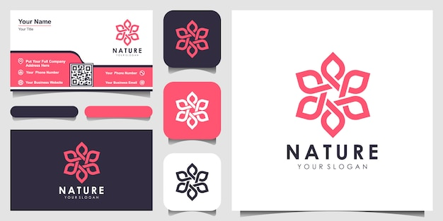 Minimalist elegant floral rose logo  for beauty, cosmetics, yoga and spa. logo design and business card