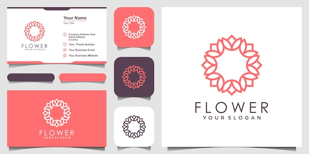美容、化粧品、ヨガ、スパのためのシンプルでエレガントなフローラルローズのロゴデザイン。ロゴと名刺デザイン