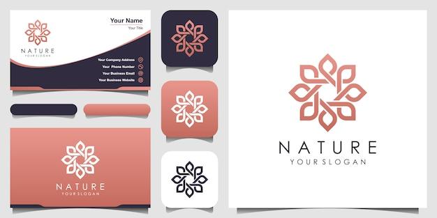 라인 아트 스타일의 미니멀 우아한 꽃 장미 로고. 아름다움, 화장품, 요가 및 스파 로고. 로고 및 명함 디자인