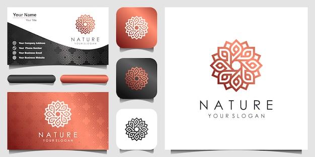 ラインアートスタイルのシンプルなエレガントなフローラルローズのロゴ。美容、化粧品、ヨガ、スパのロゴ。ロゴと名刺のデザイン。