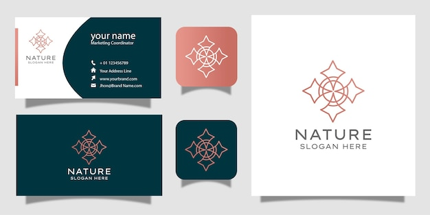 Minimalist elegant floral rose with line art style logo and business card design