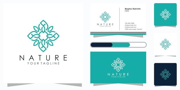 Минималистичный элегантный цветочный узор с логотипом в стиле line art и дизайном визитной карточки