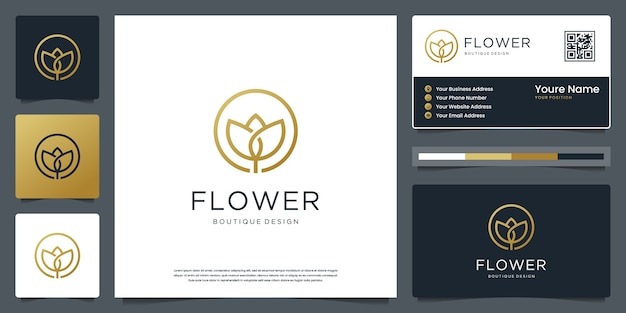 Minimalist elegant flower for flower shop, beauty, spa, skin care, salon and business card