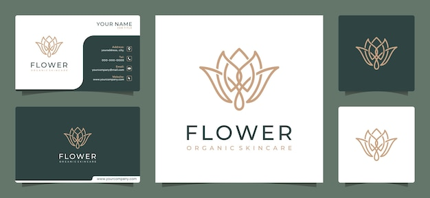 Minimalist elegant flower logo design template