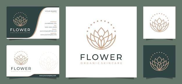 ミニマリストのエレガントな花のロゴのデザインテンプレート