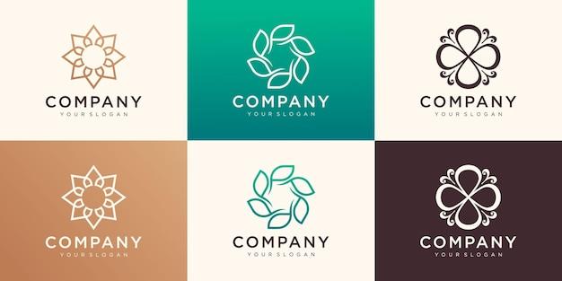 円形のコンセプトを持つミニマリストのエレガントな花のロゴのデザイン。