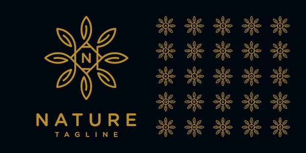 Minimalist elegant flower logo design with line art style