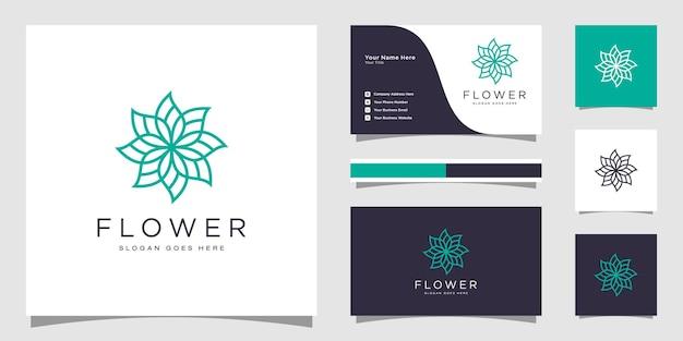 Минималистичный элегантный цветочный шаблон логотипа и дизайн визитной карточки.