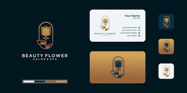 ミニマリストのエレガントな花のロゴのテンプレートと名刺のデザイン。