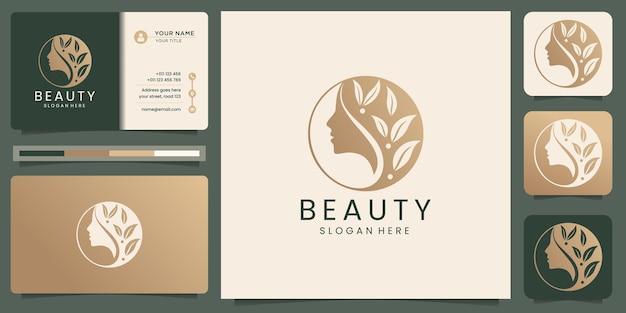 Minimalist elegant flower logo templates and business card design