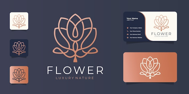 Minimalist elegant flower luxury beauty,fashion,skin care,cosmetic with business card.