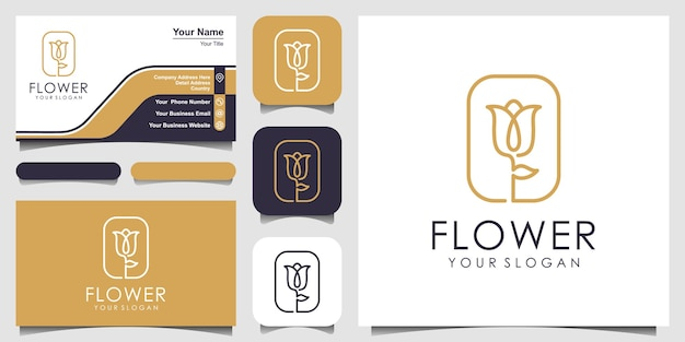 Minimalist elegant flower rose beauty with square style. set of logo and business card design