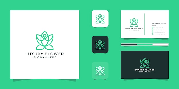 Minimalist elegant flower rose flower love line art style. luxury beauty salon, fashion,cosmetic, yoga and spa products. logo design and business card