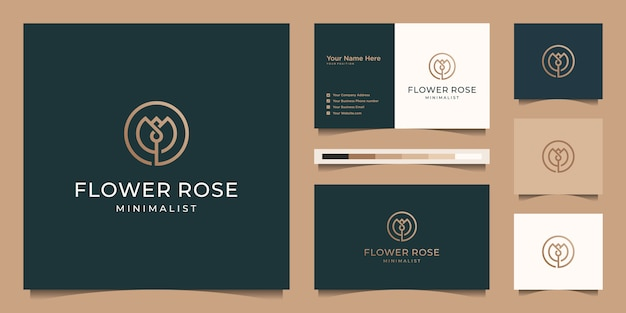 Minimalist elegant flower rose line art style. luxury beauty salon, fashion, skincare, cosmetic, yoga and spa products. logo design and business card