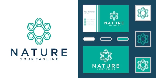 Minimalist elegant flower rose line art style yoga and spa products. logo design and business card