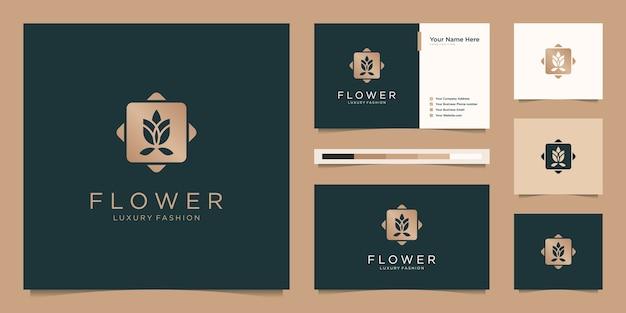 ミニマリストのエレガントなフラワーローズ。ロゴデザインと名刺