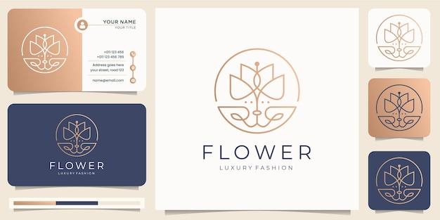 미니멀리스트 우아한 플라워 로즈 럭셔리 뷰티 살롱, 패션, 스킨 케어, 화장품, 요가 및 스파 제품. 로고 템플릿 및 명함 디자인.