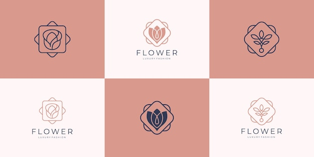Minimalist elegant flower rose luxury beauty salon, fashion, skin care, cosmetic, yoga and spa products logo templates