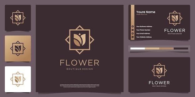 フラワーショップ、美容、スパ、スキンケア、サロン、名刺のミニマリストエレガントな花のシンボル